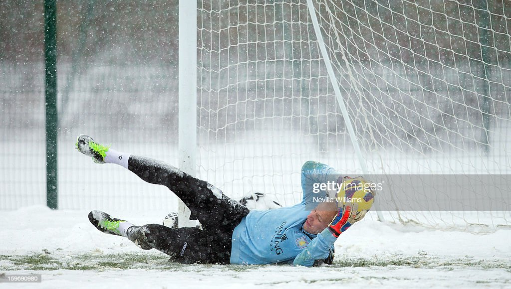 Brad Guzan of Aston Villa in action during a Aston Villa training session at the club's training ground at Bodymoor Heath on January 18, 2013 in Birmingham, England.