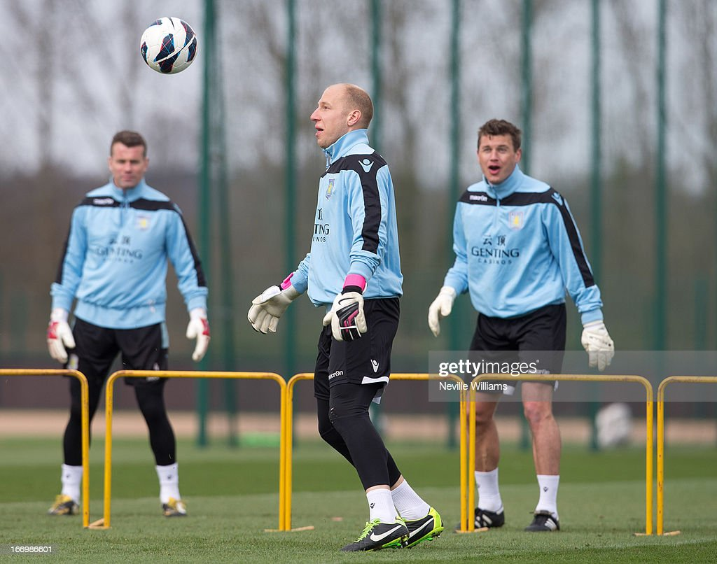 <a gi-track='captionPersonalityLinkClicked' href=/galleries/search?phrase=Brad+Guzan&family=editorial&specificpeople=662127 ng-click='$event.stopPropagation()'>Brad Guzan</a> of Aston Villa in action during a Aston Villa training session at the club's training ground, Bodymoor Heath on April 19, 2013 in Birmingham, England.