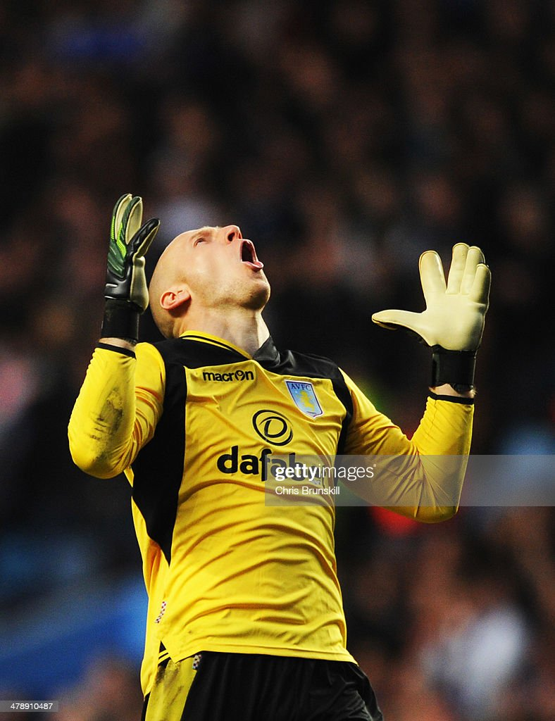 Brad Guzan of Aston Villa reacts during the Barclays Premier League match between Aston Villa and Chelsea at Villa Park on March 15, 2014 in Birmingham, England.