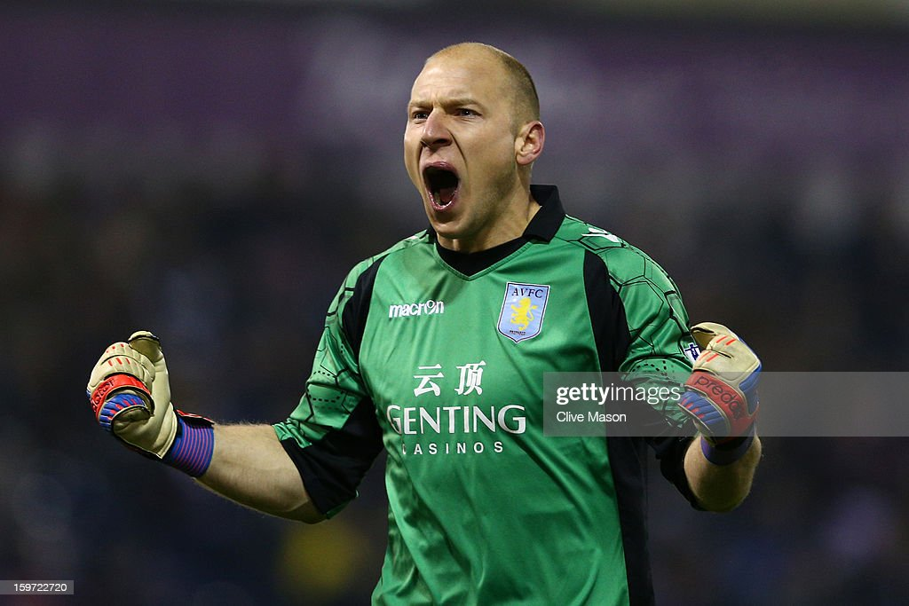 Brad Guzan of Aston Villa turns to the Aston Villa fans to celebrate their goal scored by Gabriel Agbonlahor of Aston Villa (not pictured) during the Barclays Premier League match between West Bromwich Albion and Aston Villa at The Hawthorns on January 19, 2013 in West Bromwich, England.