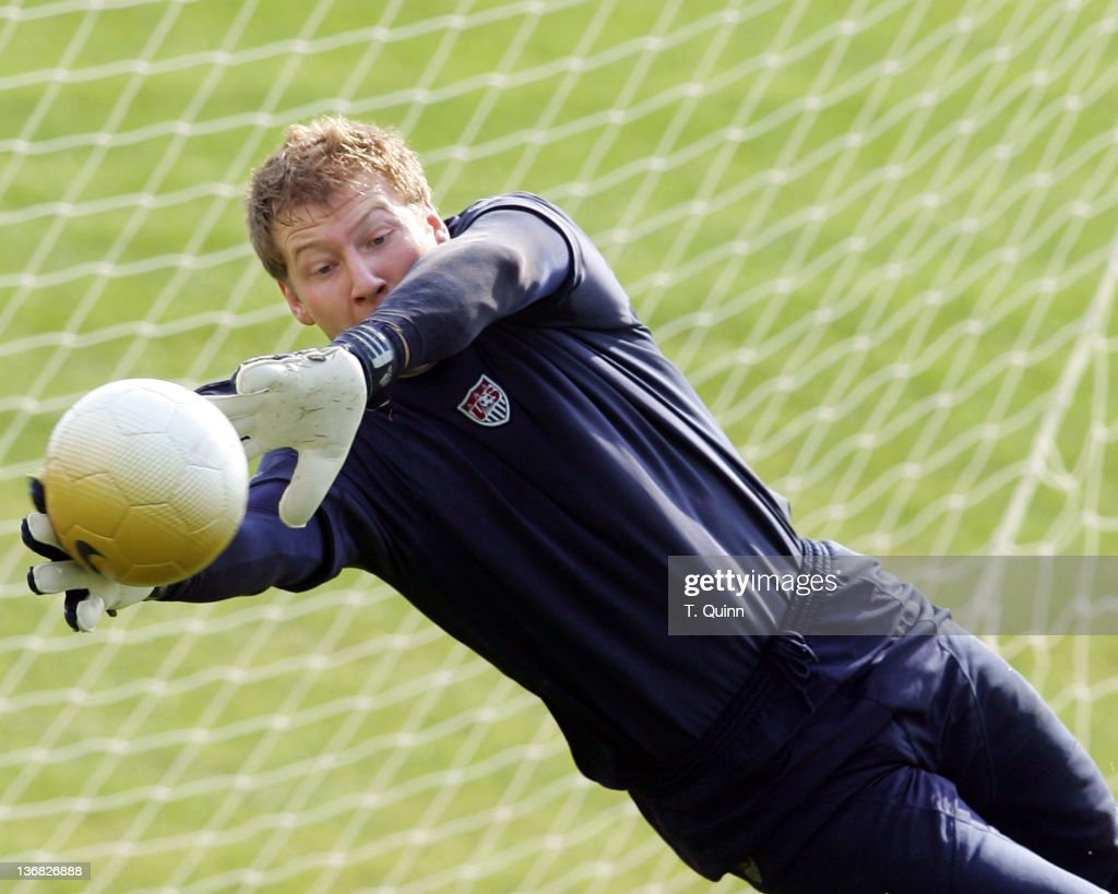 Brad Guzan of Chivas USA makes a save at the 2006 USA World Cup team training session on January 22 2006 at the Home Depot Center in Carson California