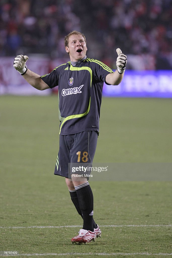 Brad Guzan of Club Deportivo Chivas USA in action against the defense of the Los Angeles Galaxy during their match on September 13 2007 at Home Depot...