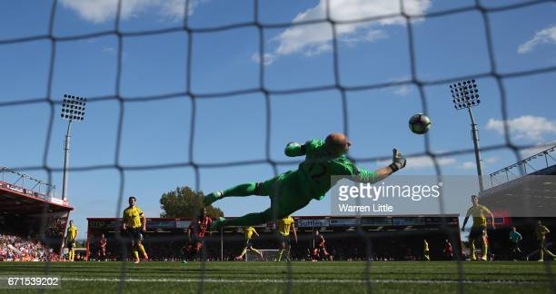 Brad Guzan of Middlesbrough makes a save during the Premier League match between AFC Bournemouth and Middlesbrough at the Vitality Stadium on April...