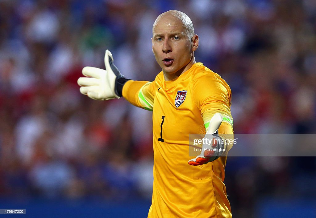 Brad Guzan #1 of the USA reacts after blocking a shot against Honduras during the 2015 CONCACAF Gold Cup Group A match between USA and Honduras at Toyota Stadium on July 7, 2015 in Frisco, Texas.