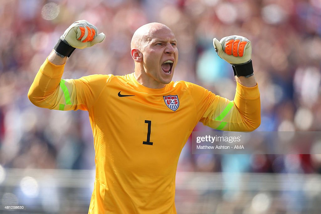 <a gi-track='captionPersonalityLinkClicked' href=/galleries/search?phrase=Brad+Guzan&family=editorial&specificpeople=662127 ng-click='$event.stopPropagation()'>Brad Guzan</a> of United States of America celebrates after the first goal during the Gold Cup Quarter Final between USA and Cuba at M&T Bank Stadium on July 18, 2015 in Baltimore, Maryland.