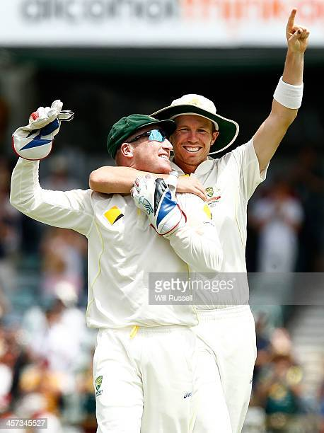 Brad Haddin and Peter Siddle of Australia celebrate after winning the Ashes during day five of the Third Ashes Test Match between Australia and...