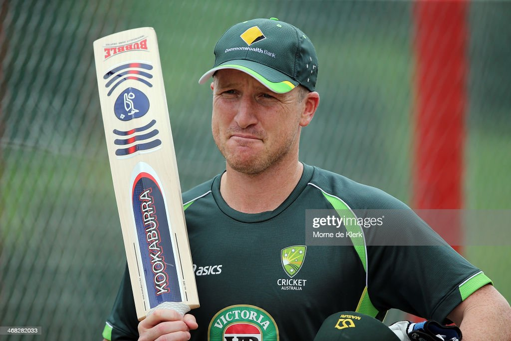 <a gi-track='captionPersonalityLinkClicked' href=/galleries/search?phrase=Brad+Haddin&family=editorial&specificpeople=193800 ng-click='$event.stopPropagation()'>Brad Haddin</a> looks on during an Australian nets session at Centurion Park on February 10, 2014 in Centurion, South Africa.