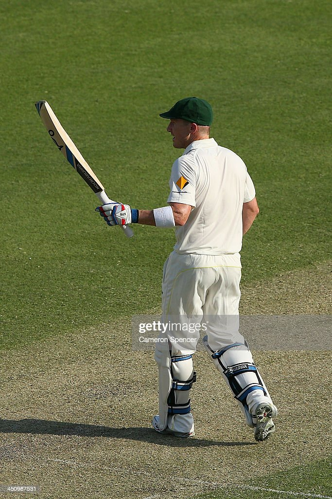 Brad Haddin of Australia acknowledges the crowd after scoring 50 runs during day one of the First Ashes Test match between Australia and England at The Gabba on November 21, 2013 in Brisbane, Australia.
