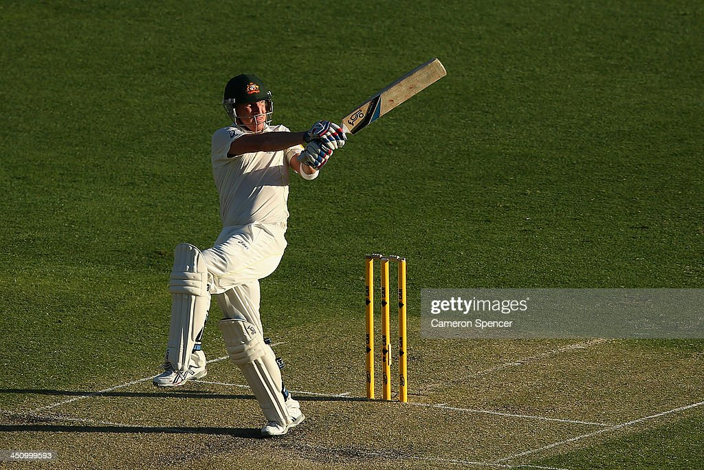 <a gi-track='captionPersonalityLinkClicked' href=/galleries/search?phrase=Brad+Haddin&family=editorial&specificpeople=193800 ng-click='$event.stopPropagation()'>Brad Haddin</a> of Australia bats during day one of the First Ashes Test match between Australia and England at The Gabba on November 21, 2013 in Brisbane, Australia.