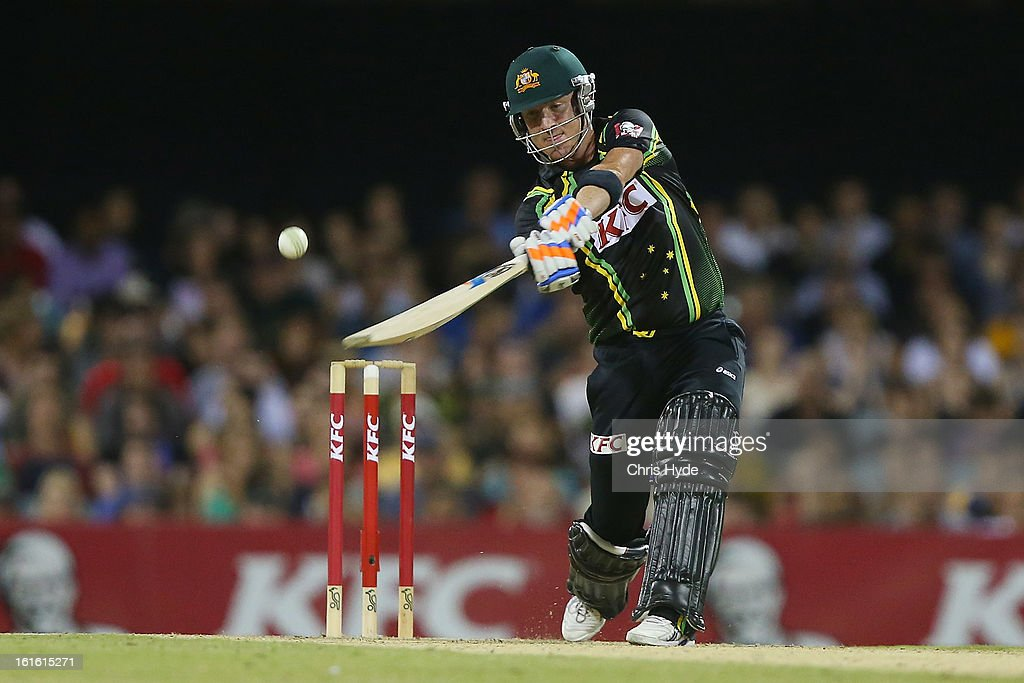 Brad Haddin of Australia bats during the International Twenty20 match between Australia and the West Indies at The Gabba on February 13, 2013 in Brisbane, Australia.