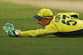 Brad Haddin of Australia celebrates his catch to dismiss Eoin Morgan of England off the bowling of Mitchell Marsh during the 2015 ICC Cricket World...