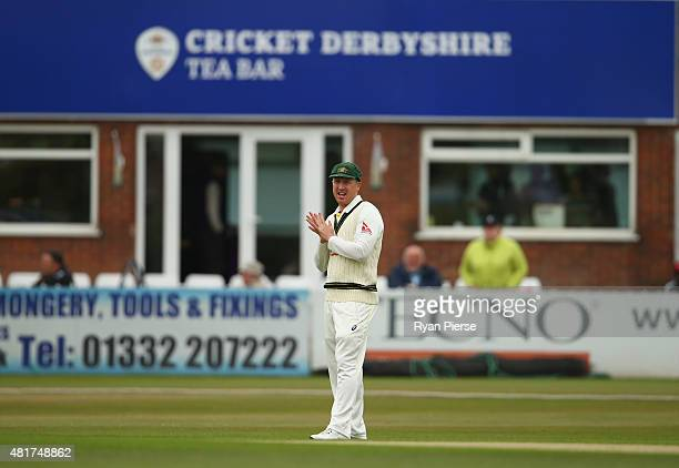 Brad Haddin of Australia fields during day two of the Tour Match between Derbyshire and Australia at The 3aaa County Ground on July 24 2015 in Derby...