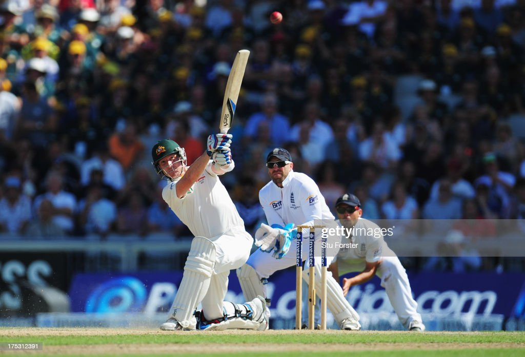Brad Haddin of Australia hits out watched by wicketkeeper Matt Prior of England during day two of the 3rd Investec Ashes Test match between England and Australia at Emirates Old Trafford Cricket Ground on August 2, 2013 in Manchester, England.