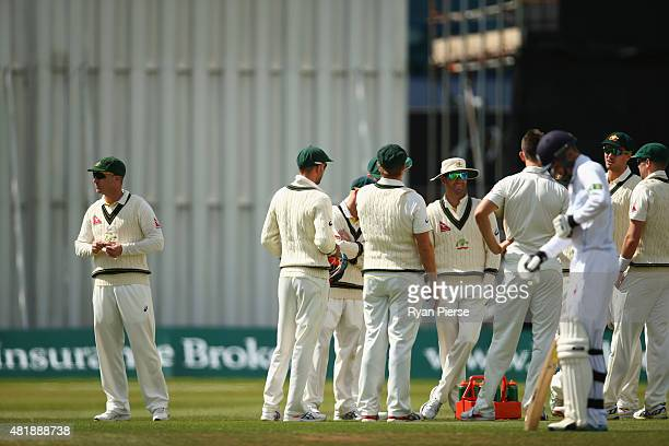 Brad Haddin of Australia looks on after Mitch Marsh of Australia took the wicket of Tom Knight of Derbyshire during day three of the Tour Match...