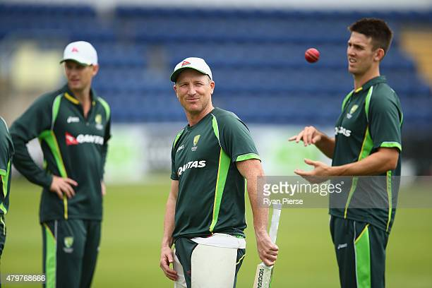 Brad Haddin of Australia looks on during a nets session ahead of the 1st Investec Ashes Test match between England and Australia at SWALEC Stadium on...