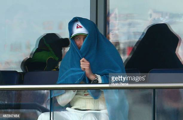 Brad Haddin of Australia looks on from the change rooms as Australia bat in their second innings during day two of the 3rd Investec Ashes Test match...