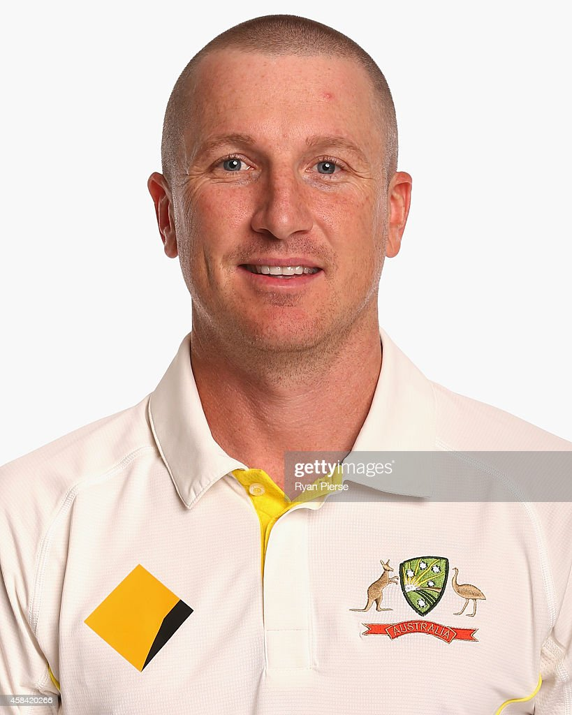 <a gi-track='captionPersonalityLinkClicked' href=/galleries/search?phrase=Brad+Haddin&family=editorial&specificpeople=193800 ng-click='$event.stopPropagation()'>Brad Haddin</a> of Australia poses during the Australia Test team headshots session at the Intercontinental Hotel on August 11, 2014 in Sydney, Australia.