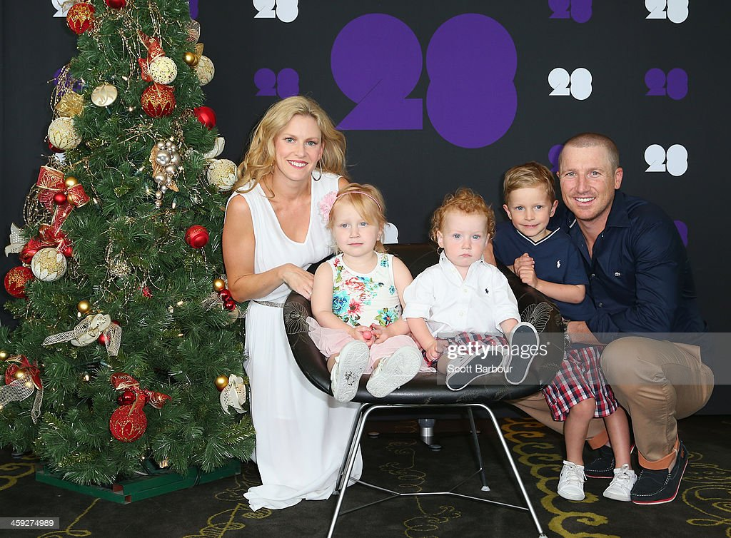 <a gi-track='captionPersonalityLinkClicked' href=/galleries/search?phrase=Brad+Haddin&family=editorial&specificpeople=193800 ng-click='$event.stopPropagation()'>Brad Haddin</a> of Australia poses with his wife Karina Haddin and children Mia, Hugo and Zac ahead of the Cricket Australia Christmas Day Lunch at Crown Metropol on December 25, 2013 in Melbourne, Australia.