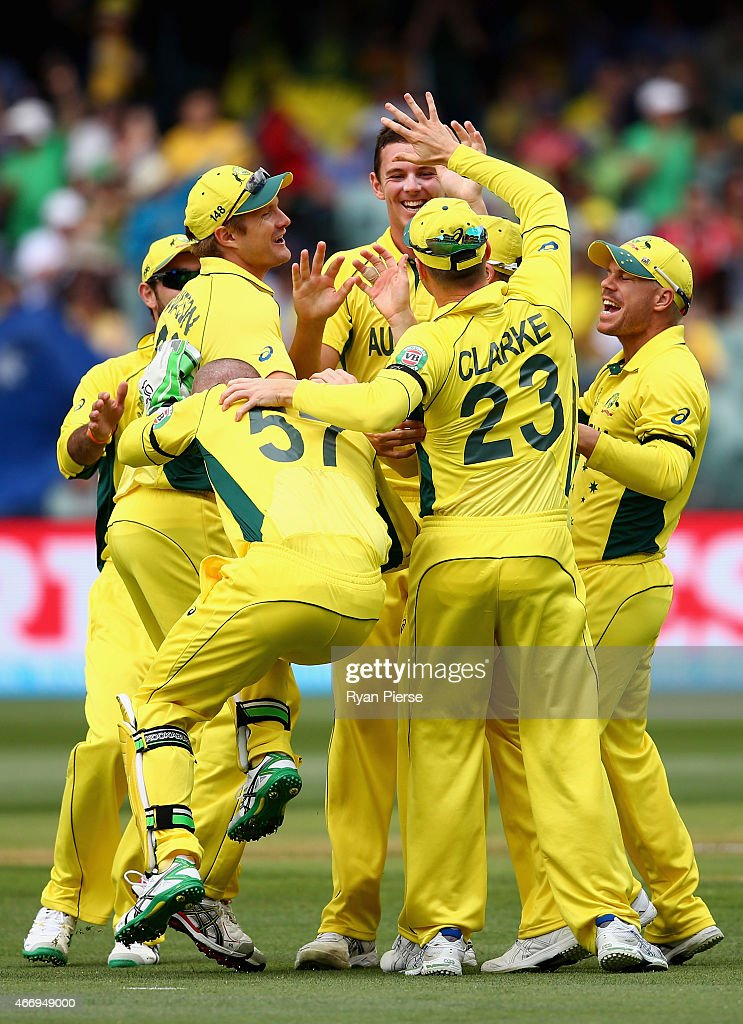 <a gi-track='captionPersonalityLinkClicked' href=/galleries/search?phrase=Brad+Haddin&family=editorial&specificpeople=193800 ng-click='$event.stopPropagation()'>Brad Haddin</a> of Australia reacts after rolling his ankle during the wicket celebration as <a gi-track='captionPersonalityLinkClicked' href=/galleries/search?phrase=Josh+Hazlewood&family=editorial&specificpeople=4884811 ng-click='$event.stopPropagation()'>Josh Hazlewood</a> of Australia claimed the wicket of Ahmed Shehzad of Pakistan during the 2015 ICC Cricket World Cup match between Australian and Pakistan at Adelaide Oval on March 20, 2015 in Adelaide, Australia.