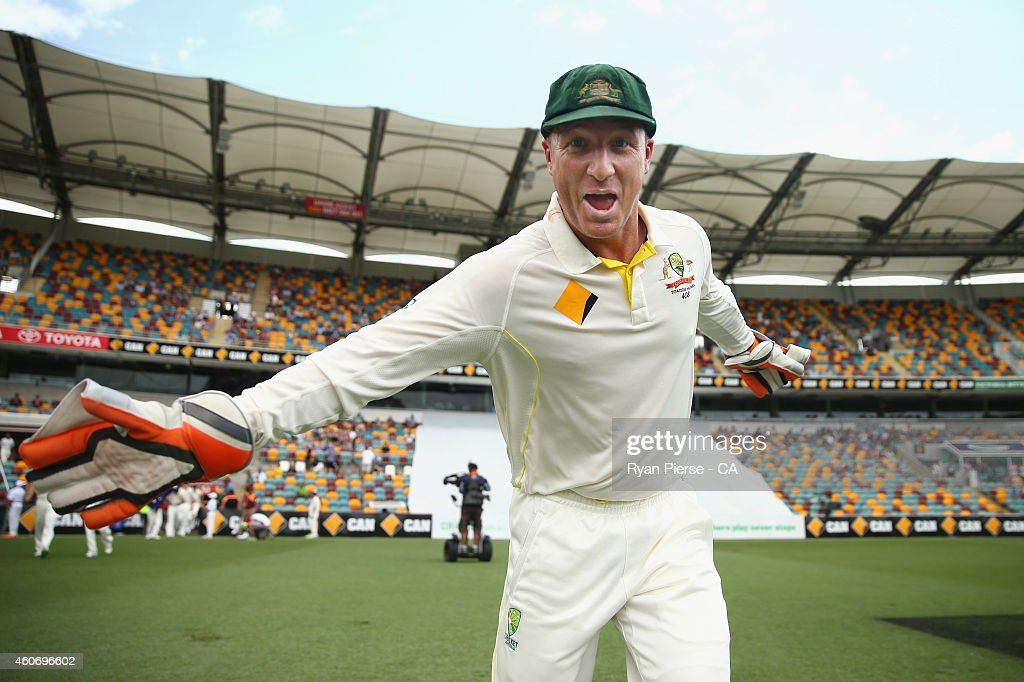 <a gi-track='captionPersonalityLinkClicked' href=/galleries/search?phrase=Brad+Haddin&family=editorial&specificpeople=193800 ng-click='$event.stopPropagation()'>Brad Haddin</a> of Australia runs out to field during day four of the 2nd Test match between Australia and India at The Gabba on December 20, 2014 in Brisbane, Australia.
