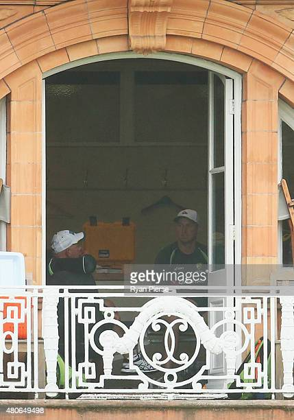 Brad Haddin of Australia speaks with Australian coach Darren Lehmann during a nets session ahead of the 2nd Investec Ashes Test match between England...