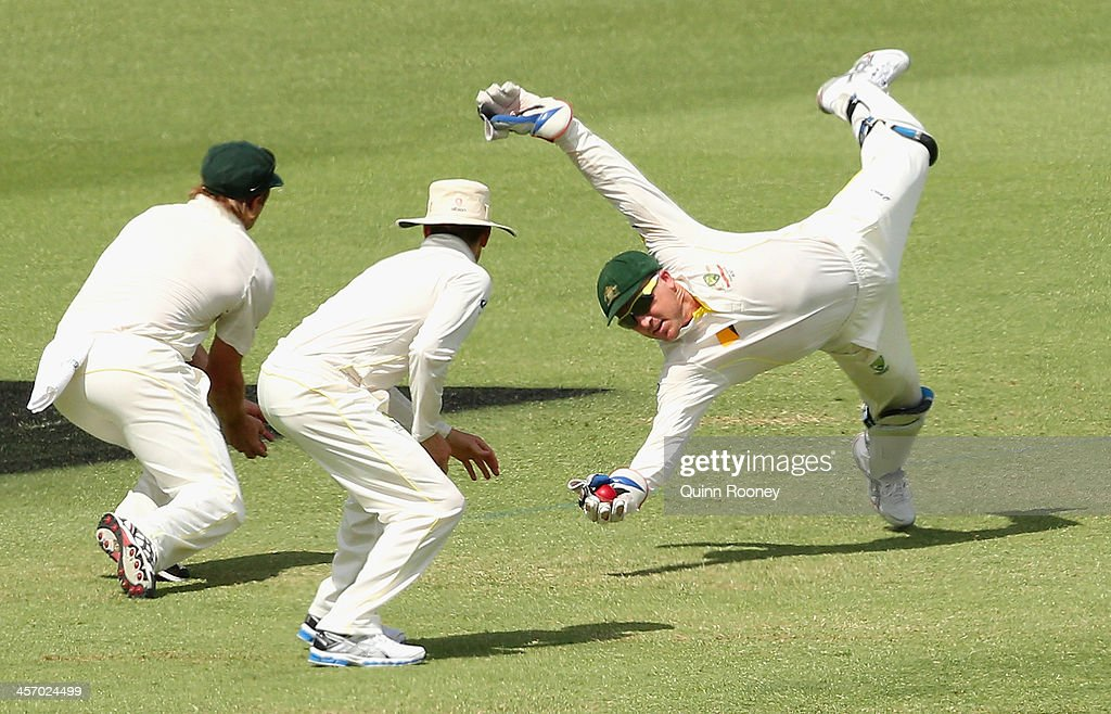 <a gi-track='captionPersonalityLinkClicked' href=/galleries/search?phrase=Brad+Haddin&family=editorial&specificpeople=193800 ng-click='$event.stopPropagation()'>Brad Haddin</a> of Australia takes a catch to dismiss Joe Root of England during day four of the Third Ashes Test Match between Australia and England at WACA on December 16, 2013 in Perth, Australia.