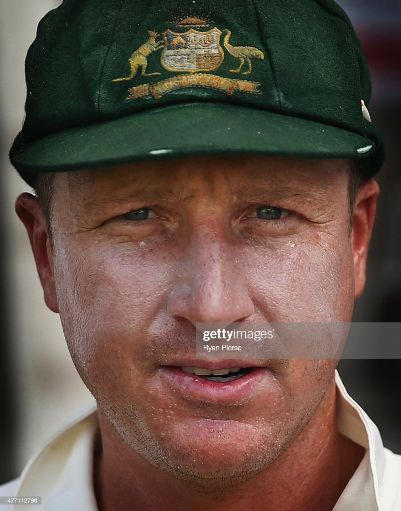 <a gi-track='captionPersonalityLinkClicked' href=/galleries/search?phrase=Brad+Haddin&family=editorial&specificpeople=193800 ng-click='$event.stopPropagation()'>Brad Haddin</a> of Australia takes to the field during day four of the Second Test match between Australia and the West Indies at Sabina Park on June 14, 2015 in Kingston, Jamaica.