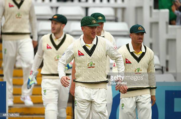 Brad Haddin of Australia walks out to field during day two of the Tour Match between Derbyshire and Australia at The 3aaa County Ground on July 24...