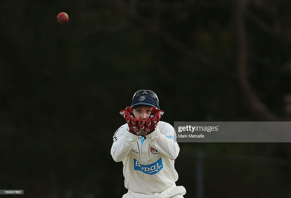 <a gi-track='captionPersonalityLinkClicked' href=/galleries/search?phrase=Brad+Haddin&family=editorial&specificpeople=193800 ng-click='$event.stopPropagation()'>Brad Haddin</a> of New South Wales in action during day four of the Sheffield Shield match between the New South Wales Blues and the Tasmanian Tigers at Bankstown Oval on September 29, 2012 in Sydney, Australia.
