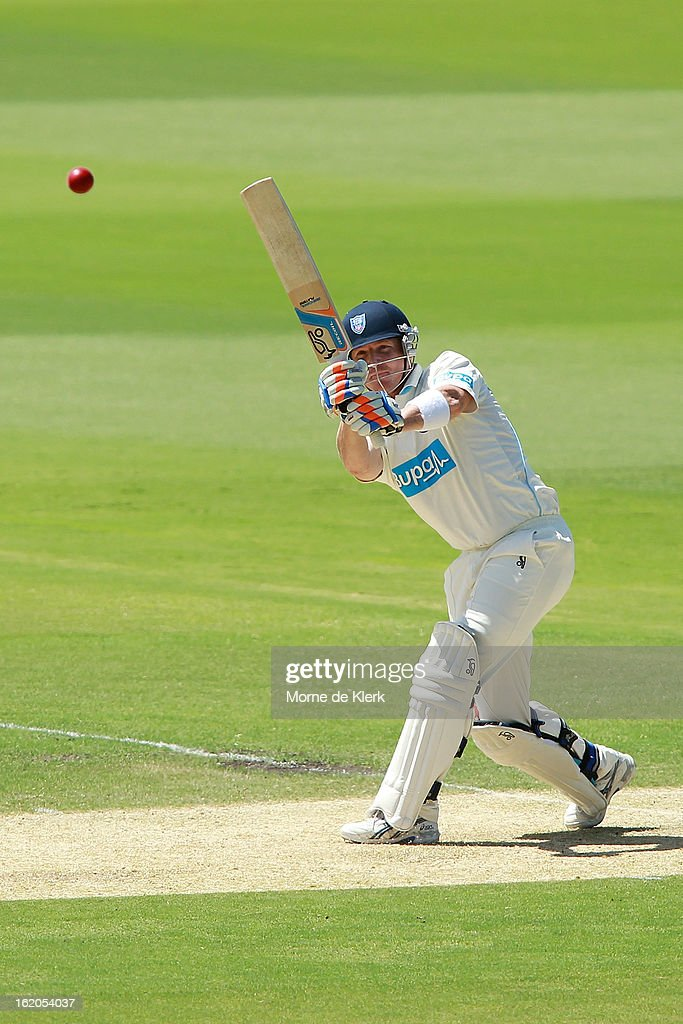 <a gi-track='captionPersonalityLinkClicked' href=/galleries/search?phrase=Brad+Haddin&family=editorial&specificpeople=193800 ng-click='$event.stopPropagation()'>Brad Haddin</a> of the Blues bats during day one of the Sheffield Shield match between the South Australian Redbacks and the New South Wales Blues at Adelaide Oval on February 19, 2013 in Adelaide, Australia.
