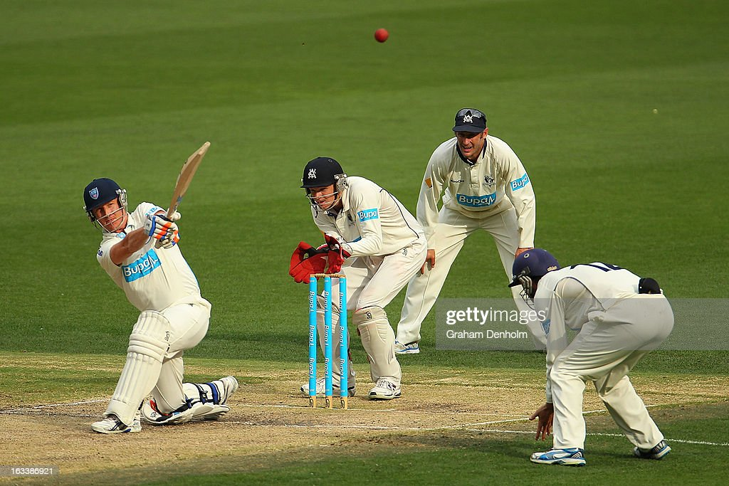 <a gi-track='captionPersonalityLinkClicked' href=/galleries/search?phrase=Brad+Haddin&family=editorial&specificpeople=193800 ng-click='$event.stopPropagation()'>Brad Haddin</a> of the Blues (L) bats during day three of the Sheffield Shield match between the Victorian Bushrangers and the New South Wales Blues at Melbourne Cricket Ground on March 9, 2013 in Melbourne, Australia.