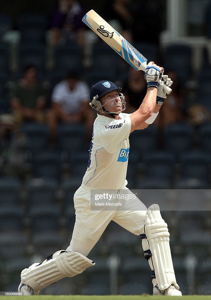 <a gi-track='captionPersonalityLinkClicked' href=/galleries/search?phrase=Brad+Haddin&family=editorial&specificpeople=193800 ng-click='$event.stopPropagation()'>Brad Haddin</a> of the Blues bats during day two of the Sheffield Shield match between the New South Wales Blues and the Western Australia Warriors at Blacktown International Sportspark on January 25, 2013 in Sydney, Australia.