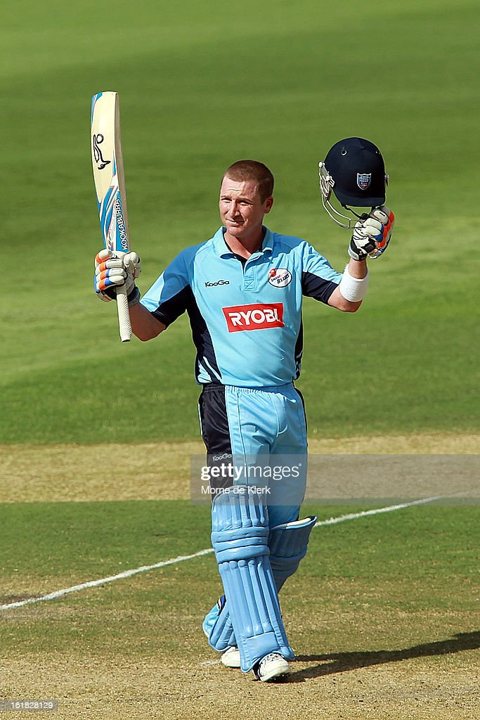 <a gi-track='captionPersonalityLinkClicked' href=/galleries/search?phrase=Brad+Haddin&family=editorial&specificpeople=193800 ng-click='$event.stopPropagation()'>Brad Haddin</a> of the Blues celebrates after reaching 100 runs during the Ryobi One Day Cup match between the South Australian Redbacks and the New South Wales Blues at Adelaide Oval on February 17, 2013 in Adelaide, Australia.