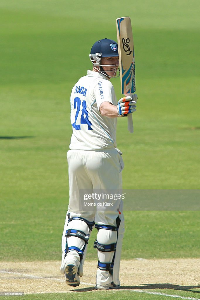 <a gi-track='captionPersonalityLinkClicked' href=/galleries/search?phrase=Brad+Haddin&family=editorial&specificpeople=193800 ng-click='$event.stopPropagation()'>Brad Haddin</a> of the Blues celebrates after reaching 50 runs during day one of the Sheffield Shield match between the South Australian Redbacks and the New South Wales Blues at Adelaide Oval on February 19, 2013 in Adelaide, Australia.