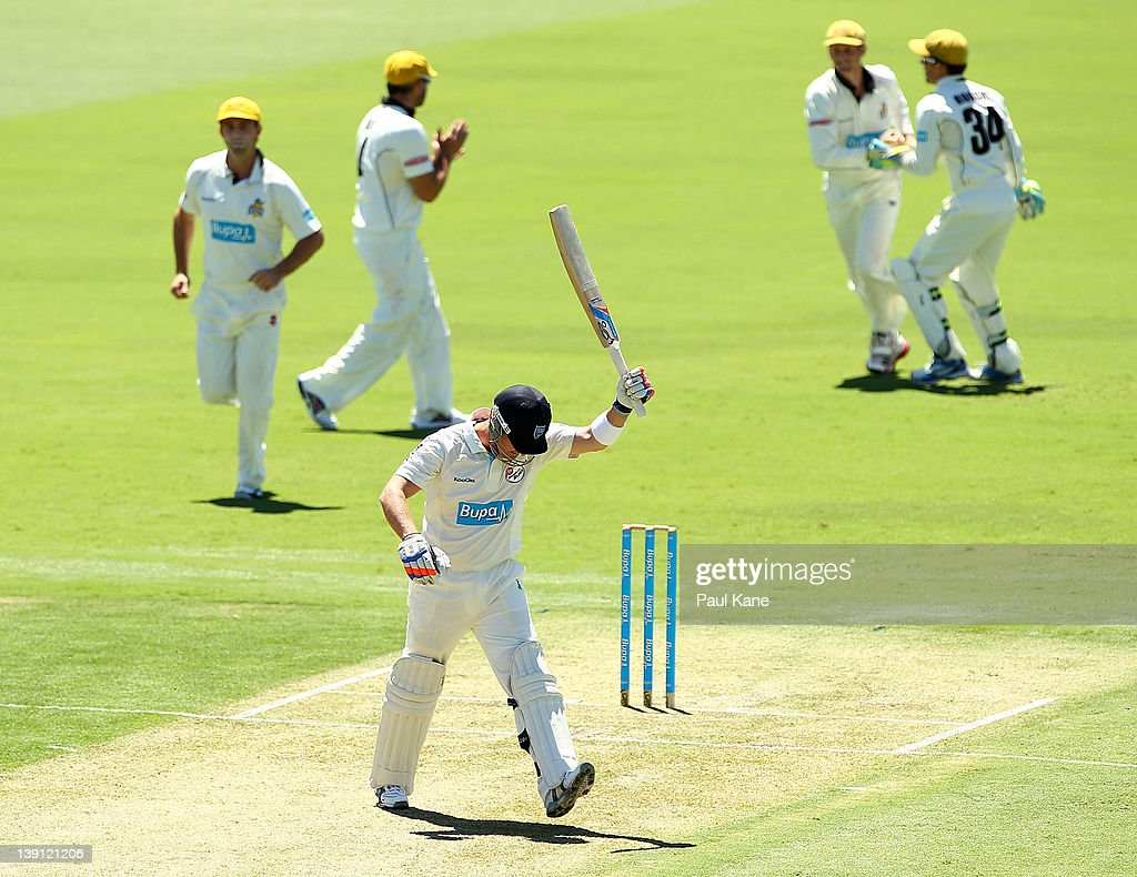 <a gi-track='captionPersonalityLinkClicked' href=/galleries/search?phrase=Brad+Haddin&family=editorial&specificpeople=193800 ng-click='$event.stopPropagation()'>Brad Haddin</a> of the Blues reacts to being dismissed without score during day one of the Sheffield Shield match between the Western Australia Warriors and the New South Wales Blues at the WACA on February 17, 2012 in Perth, Australia.