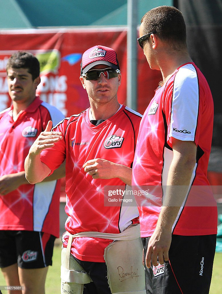<a gi-track='captionPersonalityLinkClicked' href=/galleries/search?phrase=Brad+Haddin&family=editorial&specificpeople=193800 ng-click='$event.stopPropagation()'>Brad Haddin</a> of the Sydney Sixers attends a training session during the Champions League Twenty20, at Sahara Park Newlands on October 17, 2012 in Cape Town, South Africa.