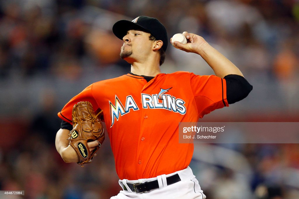 Brad Hand of the Miami Marlins delivers a pitch against the Atlanta Braves in the fifth inning at Marlins Park on September 7 2014 in Miami Florida