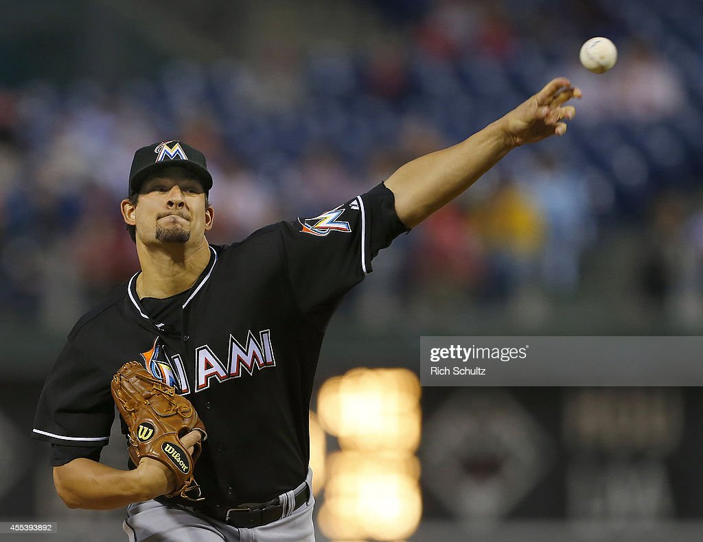 Brad Hand of the Miami Marlins delivers a pitch against the Philadelphia Phillies during the first inning of a game at Citizens Bank Park on...