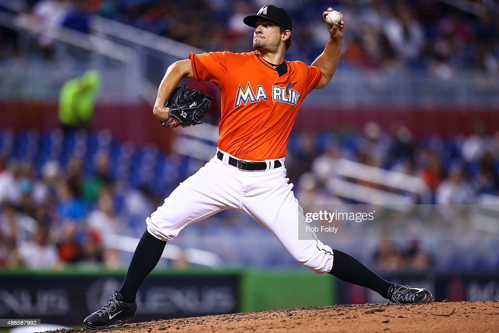 Brad Hand of the Miami Marlins in action during the game against the Washington Nationals at Marlins Park on September 13 2015 in Miami Florida