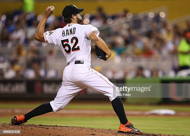 Brad Hand of the Miami Marlins in action during the game against the Pittsburgh Pirates at Marlins Park on August 25 2015 in Miami Florida