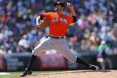 Brad Hand of the Miami Marlins pitches against the Colorado Rockies at Coors Field on August 24 2014 in Denver Colorado