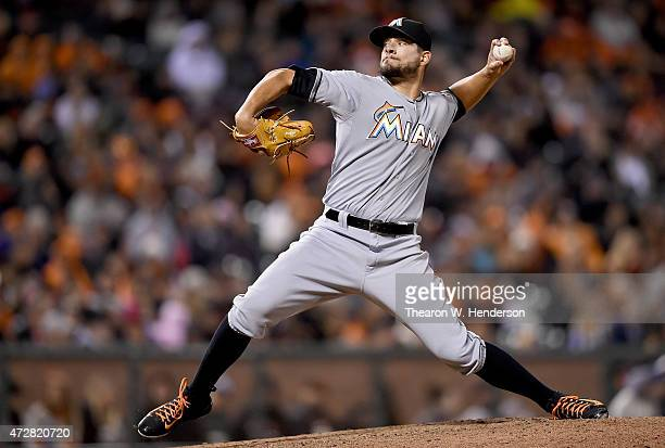 Brad Hand of the Miami Marlins pitches against the San Francisco Giants in the bottom of the six inning at ATT Park on May 8 2015 in San Francisco...