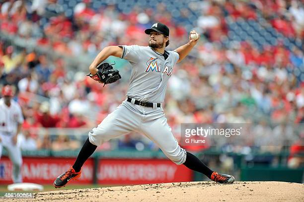 Brad Hand of the Miami Marlins pitches against the Washington Nationals at Nationals Park on August 30 2015 in Washington DC