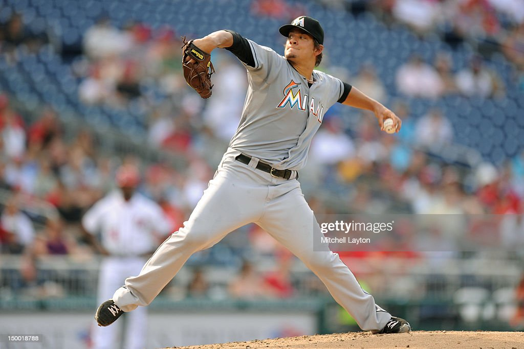 Brad Hand of the Miami Marlins pitches against the Washington Nationals on August 3 2012 at Nationals Park in Washington DC The Nationals won 74