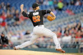 Brad Hand of the Miami Marlins pitches during a baseball against the Washington Nationals on April 9 2014 at Nationals Park in Washington DC The...