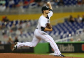 Brad Hand of the Miami Marlins pitches during a game against the Philadelphia Phillies at Marlins Park on September 25 2013 in Miami Florida