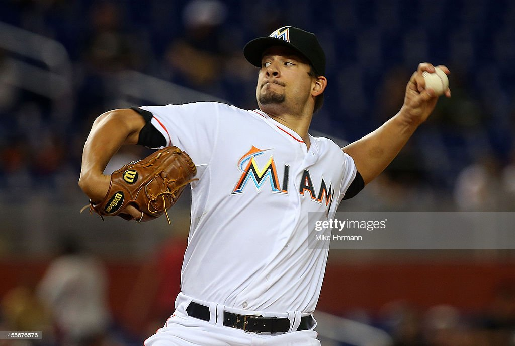 Brad Hand of the Miami Marlins pitches during a game against the Washington Nationals at Marlins Park on September 18 2014 in Miami Florida