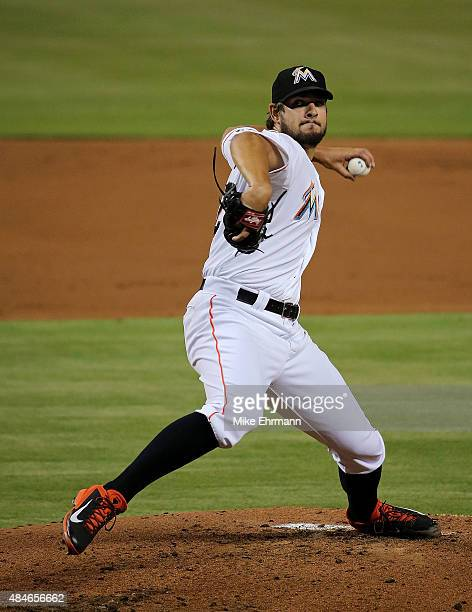 Brad Hand of the Miami Marlins pitches during a game against the Philadelphia Phillies at Marlins Park on August 20 2015 in Miami Florida