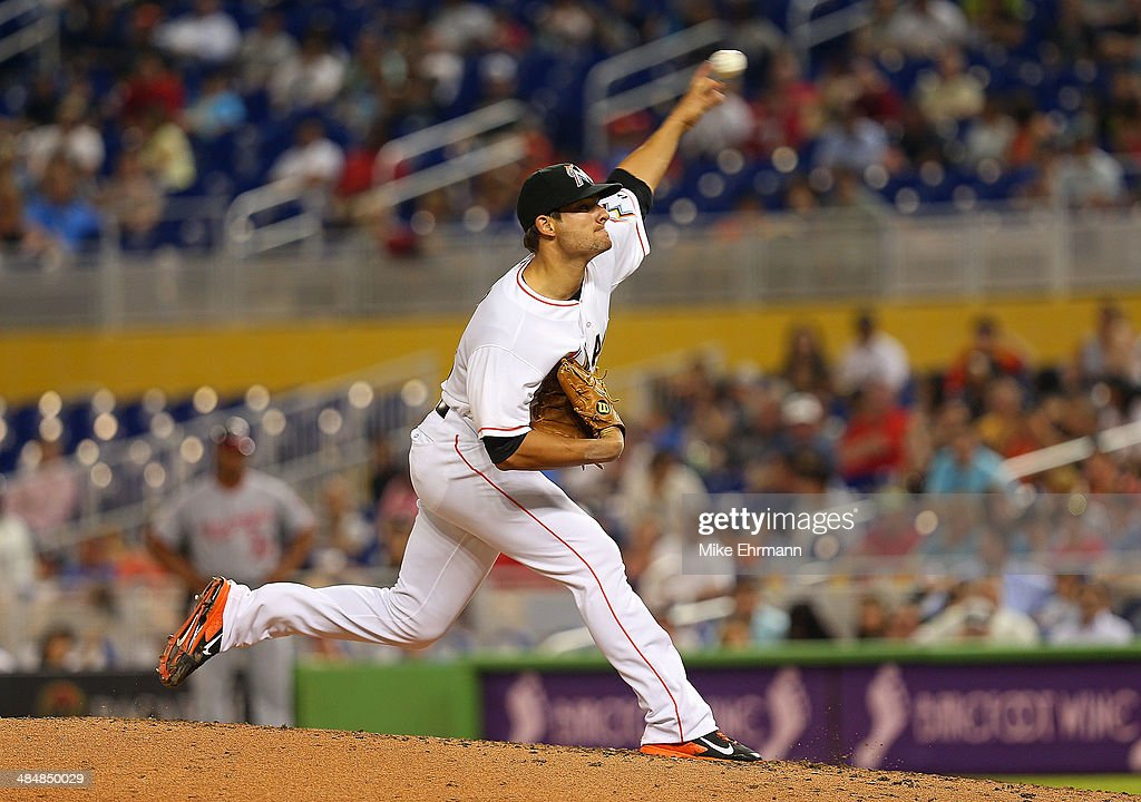 Brad Hand of the Miami Marlins pitches during a game against the Washington Nationals at Marlins Park on April 14 2014 in Miami Florida