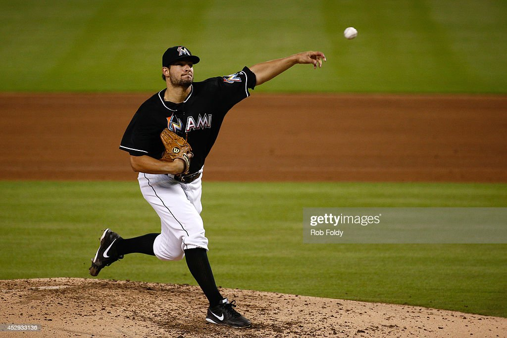 Brad Hand of the Miami Marlins pitches during the fifth inning of the game against the Washington Nationals at Marlins Park on July 30 2014 in Miami...